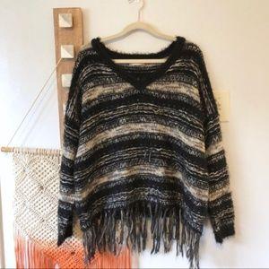 Altar'd State Stripe Boho Fringe Sweater